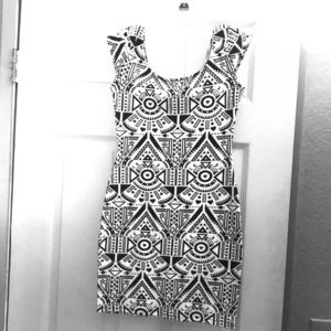 Black and white sequence mini dress